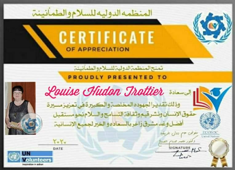 certificat d'appréciation de l'ONU